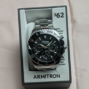 Armitron Silver and Black Stainless Steel Watch